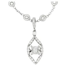 Princess Diamond Drop Pendant Necklace 18K White Gold 1.65ctw