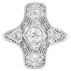 Antique Old Mine Cut Diamond Dinner Ring 18K White Gold .75ctw