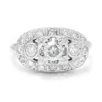 Vintage Round Diamond Engagement Ring with Accents 14K White Gold .90ctw