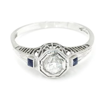 Vintage Old Mine Cut Diamond Engagement Ring with Sapphires 14K White Gold .55ctw