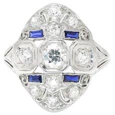 Vintage Art Deco Old European Diamond Dinner Ring Platinum 1.10ctw