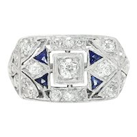 Vintage Art Deco Diamond Dinner Ring with Sapphire's Platinum .60ctw