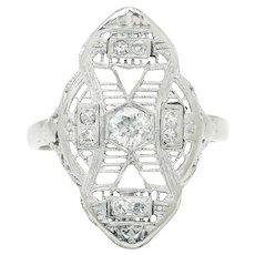 Vintage European Diamond Filigree Dinner Ring 14K White Gold .19ctw