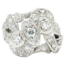 Vintage European Diamond Swirl Dinner Ring 14K White Gold .75ctw