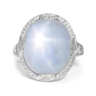 Vintage Certified Star Sapphire Ring with Diamonds 18K White Gold 18.62ctw