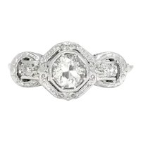 Art Deco European Diamond 3-Stone Engagement Ring Platinum .64ctw