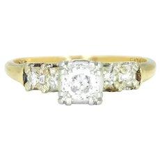 Vintage 1940s Old European Diamond Engagement Ring 14K Gold .25ctw