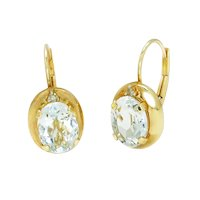 Aquamarine Lever Back Solitaire Earrings with Diamonds 14K Yellow Gold 2.02ctw