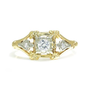 Vintage Round Diamond Ring with Accents 18K Two Tone Gold .15ctw