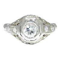 Vintage Old European Cut Diamond Ring 18K White Gold .45ctw