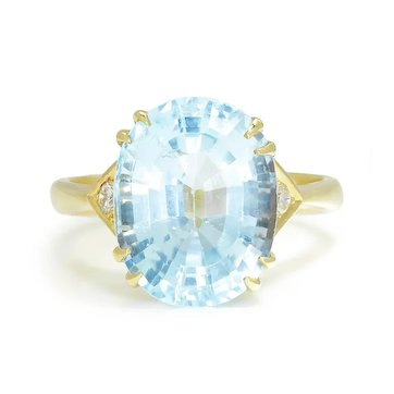 Estate Oval Topaz Ring with Diamonds 18K Yellow Gold 9.56ctw