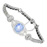 Certified Art Deco Star Sapphire Bracelet with Diamonds Platinum 10.75ctw