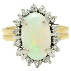Vintage 1940s Oval Opal Halo Ring with Diamonds 14K Two-Tone Gold 3.14ctw