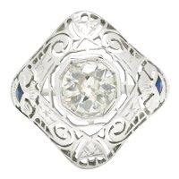 Art Deco Old Mine Cut Diamond Ring with Sapphires 18K .80ctw
