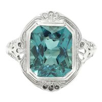 Antique Solitaire Created Zircon Ring 18K White Gold 5.00ct