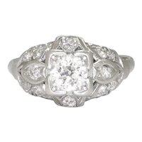 Art Deco Old Euro Diamond Engagement Ring 14K Platinum .65ct