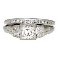 Art Deco Round Diamond Engagement Ring Set Platinum .50ctw