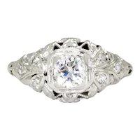 Vintage Round Diamond Filigree Engagement Ring 18K White Gold