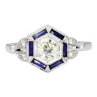 Old Mine Cut Diamond Hexagon Sapphire Halo Ring White Gold .70ctw