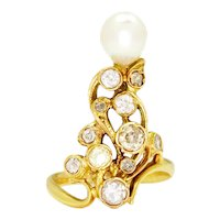 Vintage Pearl Ring with Old Mine Cut Diamonds 18K 1.00ctw