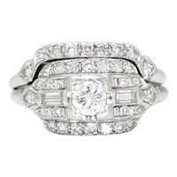 Vintage Diamond Engagement Ring Set with Accents 14K .65ctw