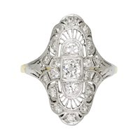 Vintage Old Euro Diamond Dinner Ring 18K & 14K .45ctw