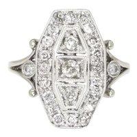 Vintage Reproduction Diamond Dinner Ring 14K White Gold .65ctw