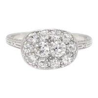Vintage Old Mine Cut Diamond Cluster Ring 18K White Gold .70ctw