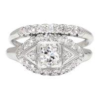 Vintage Old European Diamond Engagement Ring Set Platinum .40ctw