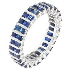 Sapphire Eternity Band with Diamonds 18K White Gold 2.50ctw