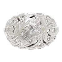 Open Filigree Vintage Ring with Diamonds 14K White Gold .18ctw