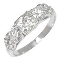 Vintage Old Mine Cut Diamond 3-Stone Engagement Ring 14K 1.06ctw