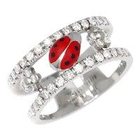 Aaron Basha Ladybug & Diamond Double Decker Ring 18K White Gold 0.78ctw