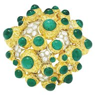 Vintage Diamond Pendant Brooch 18K Two Tone Gold 1.00ctw