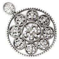 Fleur de Lis Pendant with Diamonds in Sterling Silver Circle Shape .10ctw