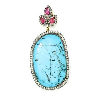 Turquoise Drop Pendant with Pink Sapphires & Diamonds 18K 925 25.75ctw