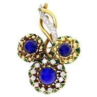 Le Triomphe Lapis Brooch with Diamond's in 18kt Gold & Blue Green Enamel French Jewelry