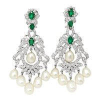 Pearl Chandelier Earrings with Emeralds & Diamonds 18K 4.50ctw