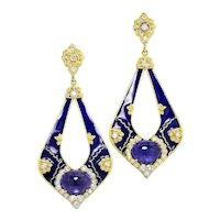 Stambolian Colors of Life Tanzanite Earrings with Diamonds 18K Enamel