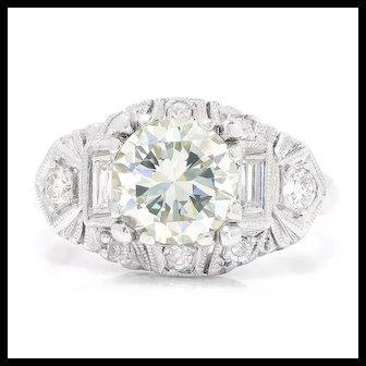Vintage Art Deco Round Diamond Platinum Engagement Ring 1.80ctw