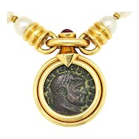 Ancient Maxentius Roman Coin Ruby Pendant Pearl Necklace 18K Gold