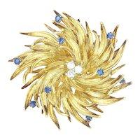 Vintage Tiffany Starburst Diamond Brooch Pin with Sapphires 18K 1960s