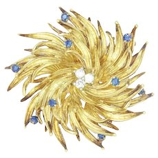 Vintage Tiffany Starburst Diamond Brooch Pin with Sapphires 18K 1960s