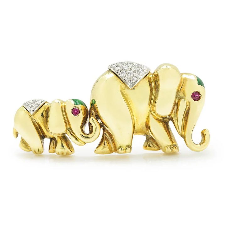 Vintage Mom Baby Elephant Brooch Pin with Diamonds & Rubies 18K Gold