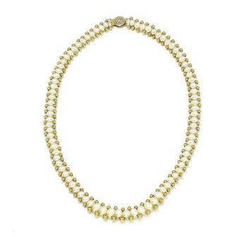 """Oval Cultured Pearl Necklace with 14K Yellow Gold Beads 17.5"""""""