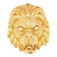 Lion's Head Diamond Eyes Pendant 14K Yellow Gold 0.30ctw