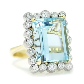 Vintage Aquamarine Ring with Diamonds 14K Two Tone Gold 13.00ctw