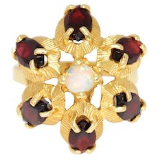Vintage Opal Ring with Garnets 14K Yellow Gold 3.25ctw