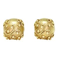 14Kt Yellow Gold Sphere Stud Earrings with Filigree Detail