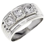 Modern Three Stone Round Diamond Engagement Ring in White Gold .50ctw